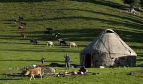 Photo du site chine-informations Un berger de l'éthnie kazakh prépare le dîner dans la prairie de Narat