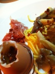 Spaghettis chorizo et jambon de bayonne