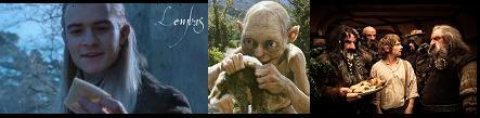 Un elfe et son pain elfique, un Golum et son lapin plus très vivant et des hobbits, des nains et leurs ripailles...