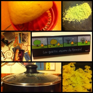 Citron pressé, wasabi en poudre, détail cuisine, Normandie pour la crème bien sûr, marmite de pâtes et papillons...